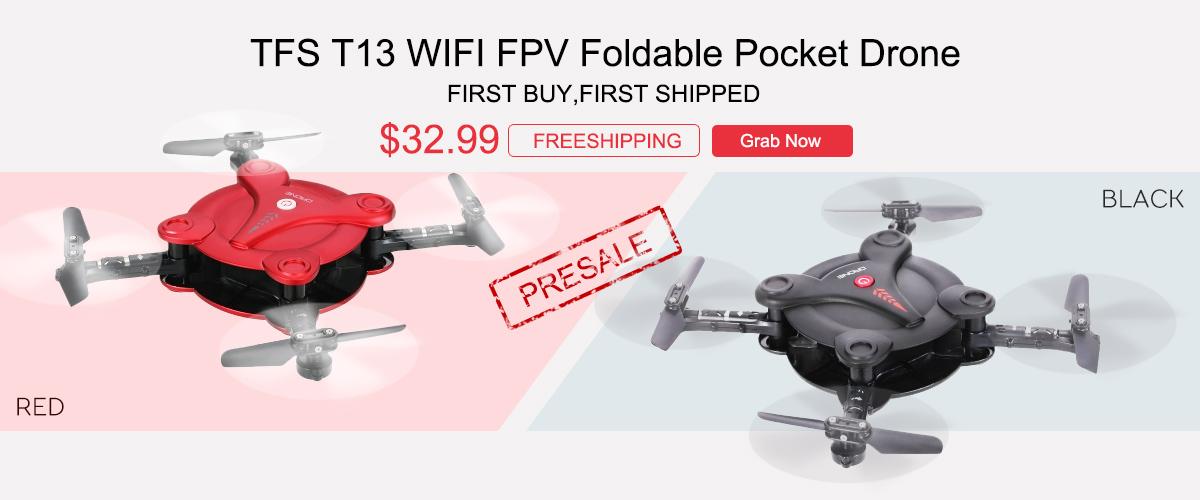TFS T13 WIFI FPV Foldable Pocket Drone