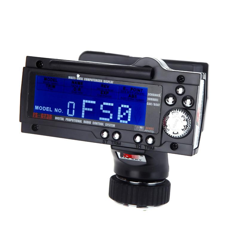 FS-GT3B 2.4G 3CH Radio Model Remote Control LCD Transmitter & Receiver for RC Car Boat ...