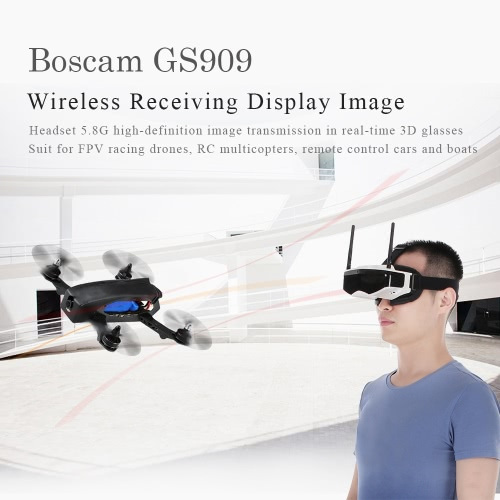 Boscam GS909 5.8G 32CH 3D Video FPV Goggles Glasses with Double Transmitting Lens