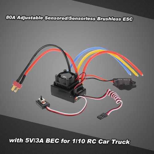 Buy Sensored/Sensorless Brushless ESC Electric Speed Controller 80A Adjustable 5V/3A BEC 1/10 RC Car Truck