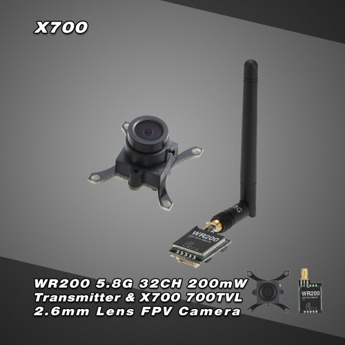 Buy WR200 5.8G 32CH 200mW AV Transmitter & X700 700TVL 2.6mm Lens FPV Camera XK X350 RC Quadcopter Aerial Photography