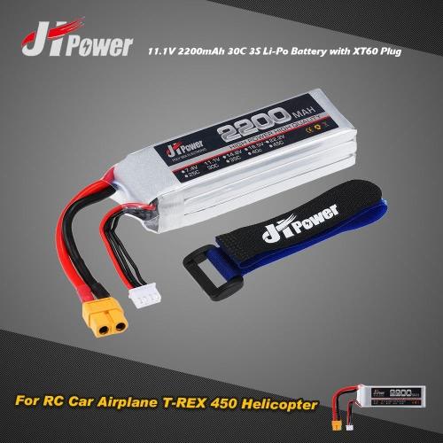 Buy JHpower 11.1V 2200mAh 30C 3S Li-Po Battery XT60 Plug RC Car Airplane T-REX 450 Helicopter