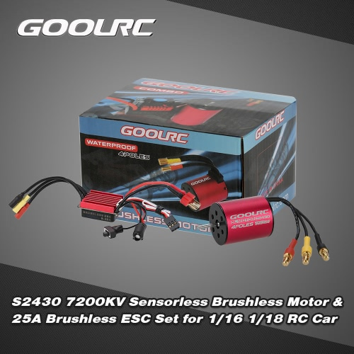Buy Original GoolRC S2430 7200KV Sensorless Brushless Motor 25A ESC Combo Set 1/16 1/18 RC Car Truck