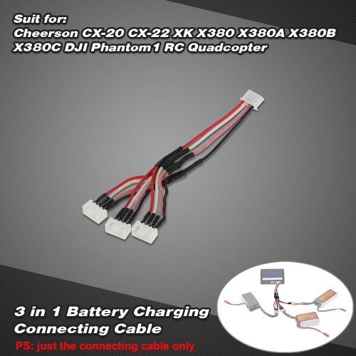 Buy 3 1 Battery Charging Connecting 11.1V 3S Cable Cheerson CX-20 CX-22 XK X380 X380A X380B X380C DJI Phantom1 RC Quadcopter