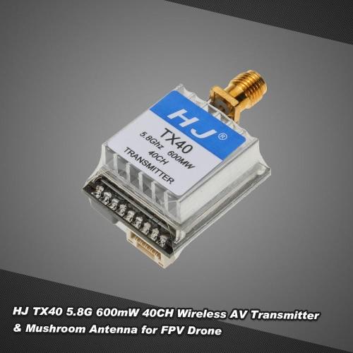 Buy HJ TX40 5.8G 600mW 40CH Wireless AV Transmitter QAV250 Racer250 GoolRC 210 RC Drone FPV Racing Quadcopter Vertical Antenna Mushroom
