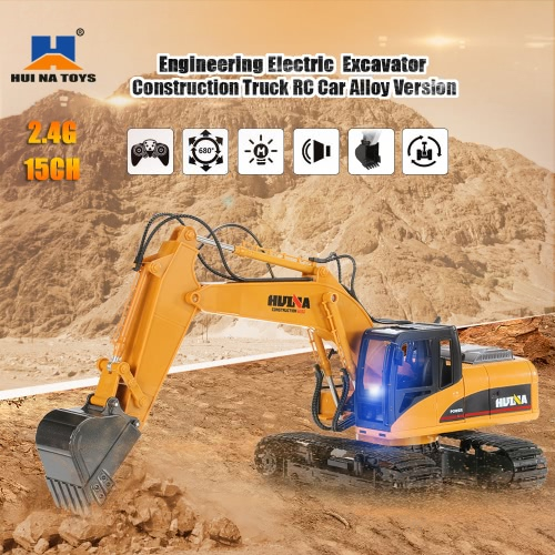 Buy HUI NA TOYS 2.4GHz 15CH Engineering Electric Excavator Construction Truck RC Car Alloy Version
