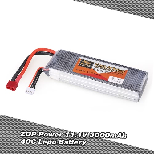 Buy ZOP Power 11.1V 3S 3000mAh 40C Li-po Battery T Plug RC Drone Quadcopter Car Boat Airplane 450 Helicopter