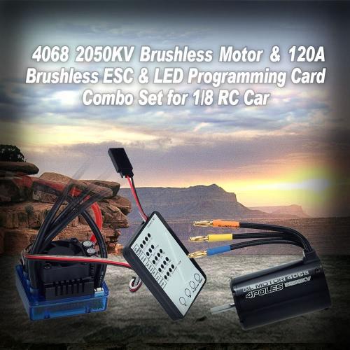 Buy 4068 2050KV Brushless Motor & 120A ESC LED Programming Card Combo Set 1/8 RC Car
