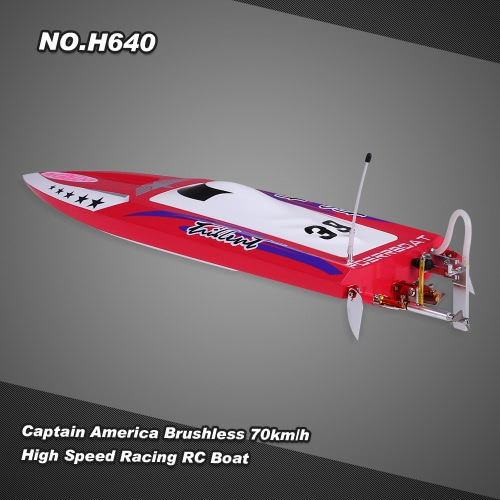 Buy NO.H640 Captain America Brushless RC Racing Boat 70km/h High Speed PNP Version Servo ESC Motor