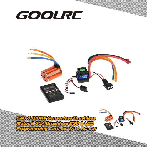 Buy GoolRC 540 3100KV Sensorless Brushless Motor & 60A ESC 6V/3A BEC LED Programming Card Combo Set 1/10 RC Car