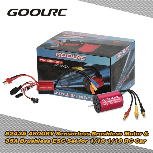Buy Original GoolRC S2435 4800KV Sensorless Brushless Motor 35A ESC Combo Set 1/16 1/18 RC Car Truck 中文品名:模型配件