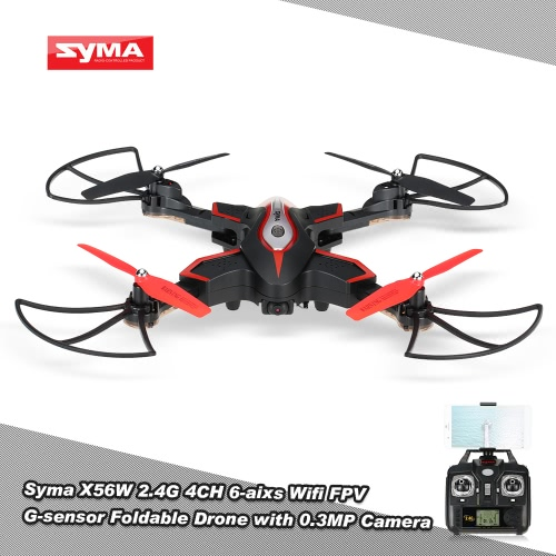 Buy Syma X56W Wifi FPV G-sensor Foldable Drone 2.4G 4CH 6-axis Gyro RC Quadcopter RTF Altitude Hold Headless Mode Track-controlled