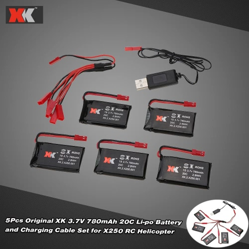 Buy Original XK 3.7V 780mAh 20C Li-po Battery Charging Cable Set X250 RC Helicopter