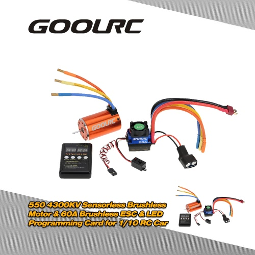 Buy GoolRC 550 4300KV Sensorless Brushless Motor & 60A ESC 6V/3A BEC LED Programming Card Combo Set 1/10 RC Car
