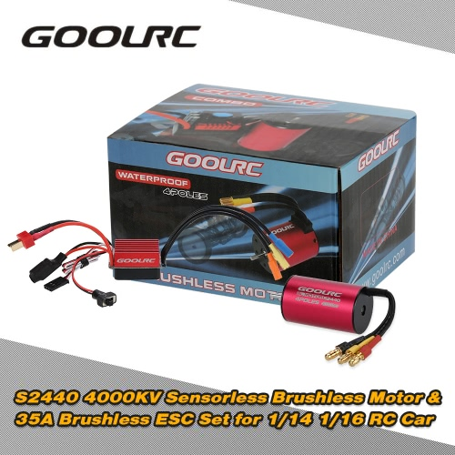 Buy Original GoolRC S2440 4000KV Sensorless Brushless Motor 35A ESC Combo Set 1/14 1/16 RC Car Truck