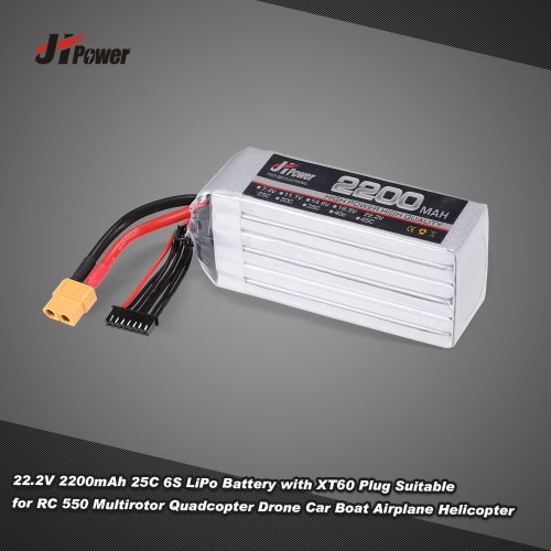 Buy JHpower 22.2V 2200mAh 25C 6S LiPo Battery XT60 Plug RC 550 Multirotor Quadcopter Drone Car Boat Airplane Helicopter