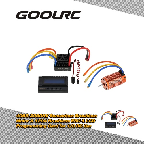 Buy GoolRC 4068 2050KV Sensorless Brushless Motor & 120A ESC 6V/3A Switch Mode BEC LCD Programming Card Combo Set 1/8 RC Car