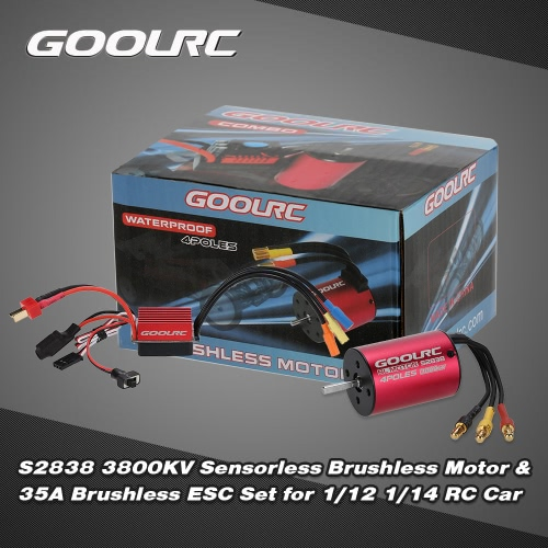Buy Original GoolRC S2838 3800KV Sensorless Brushless Motor 35A ESC Combo Set 1/12 1/14 RC Car Truck