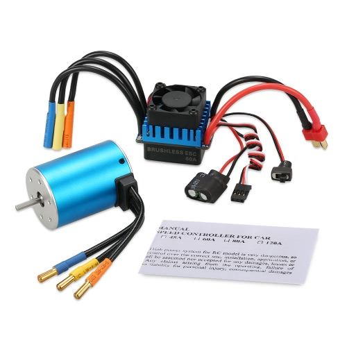 Buy 3650 3900KV Sensorless Brushless Motor 60A ESC 1/10 RC Car