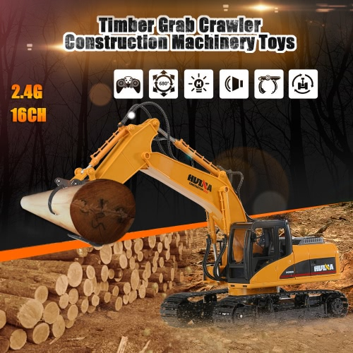 Buy HUI NA TOYS NO.1570 Excavator Timber Grab Crawler Truck 2.4G 16CH RC Engineering Vehicle Toys