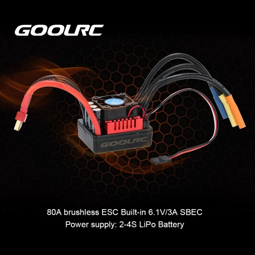 Buy GoolRC S-80A Brushless ESC Electric Speed Controller 6.1V/3A SBEC 1/8 RC Car