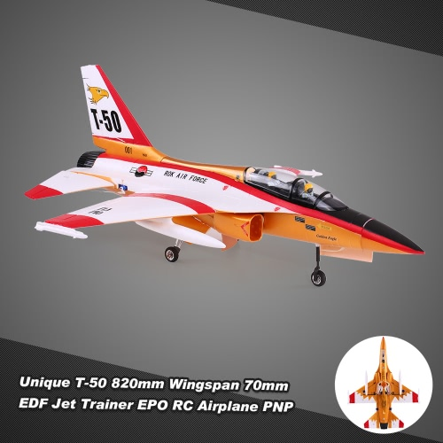 Buy Unique T-50 Drone 820mm Wingspan 70mm EDF Jet Trainer EPO Aircraft RC Airplane PNP Version Electric Retractable Landing Gear Auto Pilot Cabin