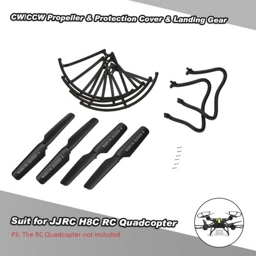 Buy 2 pairs CW/CCW Propeller & Protection Cover Landing Gear JJRC H8C H8D H12C H12W DFD F181 F182 F183 RC Quadcopter