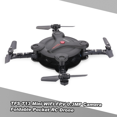 Buy TFS T13 6-Axis Gyro Mini Wifi FPV Foldable G-sensor Pocket Drone 0.3MP Camera Altitude Hold RC Quadcopter