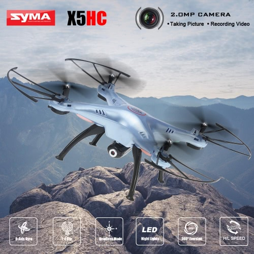 Buy Original SYMA X5HC 2.4GHz 4CH 6-axis Gyro 2.0MP HD Camera RC Quadcopter 360° Eversion CF Mode Hover Function
