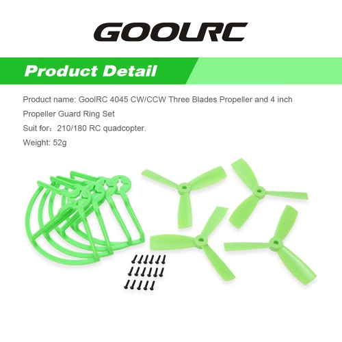 Buy GoolRC 4045 CW/CCW Three Blades Propeller 4 inch Guard Ring Set 210/180 Racing Drone