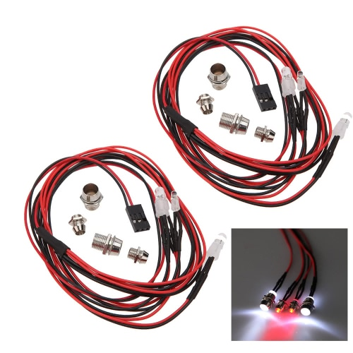 Buy 2 Sets 1/10 1/8 Upgrade Parts 4 LED Light Set Headlight Taillight HSP RC Monster Truck Cars