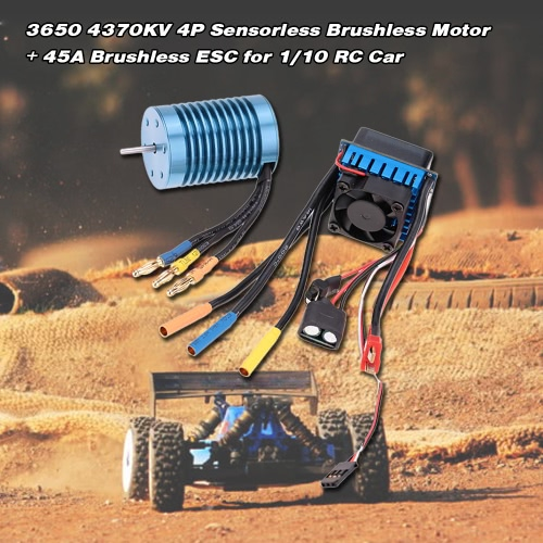 Buy 3650 4370KV 4P Sensorless Brushless Motor 45A ESC(Electric Speed Controller)for 1/10 RC Off-Road Car
