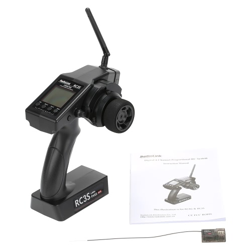 2.4g 4ch Radio Control System Transmitter Receiver Rc3s Programable For Rc Car Boat Black