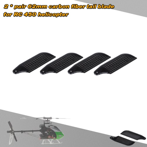 Buy 2 * Pairs Carbon Fiber 62mm Tail Blades Align Trex 450 RC Helicopter