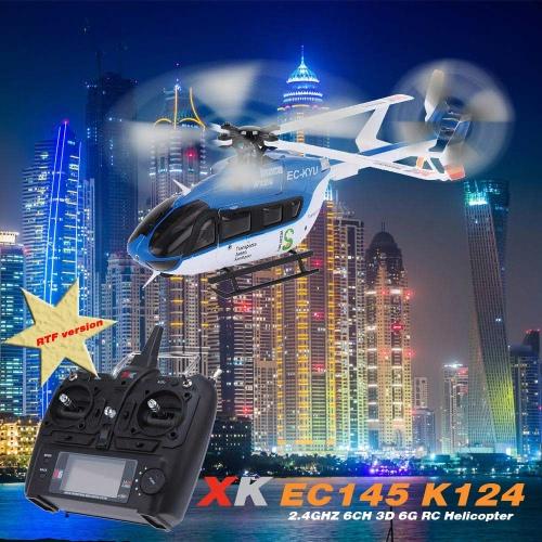 Buy Original XK EC145 K124 6CH 3D 6G System Brushless Motor RTF RC Helicopter