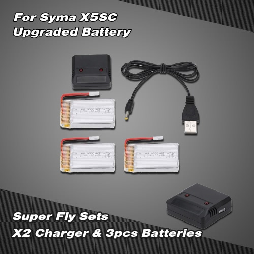 Buy Super Fly Sets X2 2 Ports Charger Upgraded 3.7V 1100mAh Lipo Battery Syma X5SC X5SW RC Quadcopter