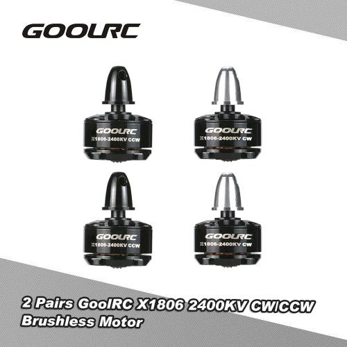 Buy 2 Pairs Original GoolRC X1806 2400KV CW/CCW Brushless Motor QAV180 QAV210 QAV250 FPV Racing Quadcopter
