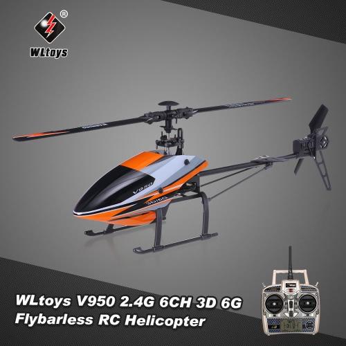 Buy Original WLtoys V950 2.4G 6CH 3D 6G System Brushless Motor Flybarless RTF RC Helicopter