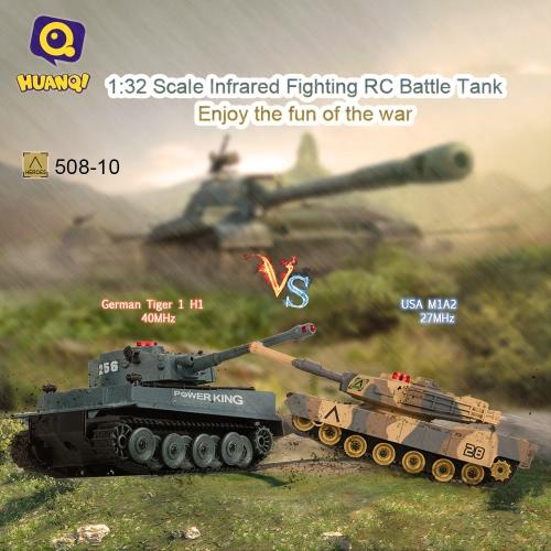 Buy HUAN QI 508-10 1/32 USA M1A2 German Tiger 1 H1 Infrared Fighting RC Battle Tank Sound Lights Toys