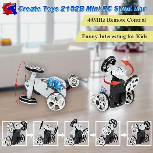 Original Create Toys 2152B 40MHz 2CH Mini RC Rolling Rotating Wheel Car Kids' toys Stunt Car