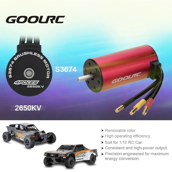 Buy Original GoolRC S3674 2650KV 4 Poles Brushless Sensorless Motor 1/8 RC Car Truck