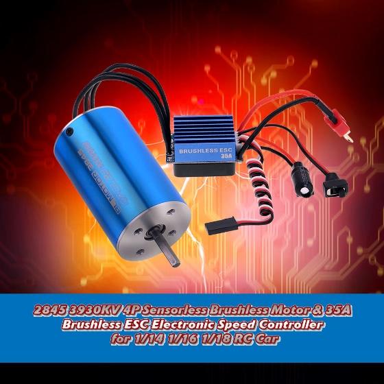 Buy 2845 3930KV 4P Sensorless Brushless Motor & 35A ESC Electronic Speed Controller 1/14 1/16 1/18 RC Car