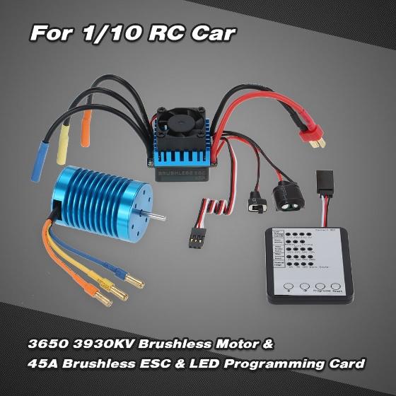 Buy 3650 3930KV/4P Brushless Motor & 45A ESC LED Programming Card Combo Set 1/10 RC Car