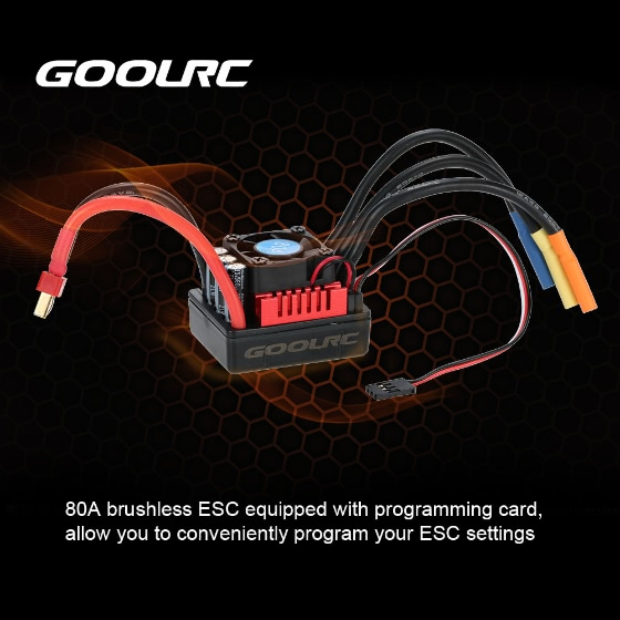 Buy GoolRC S-80A Brushless ESC 6.1V/3A SBEC & Programming Card 1/8 RC Car