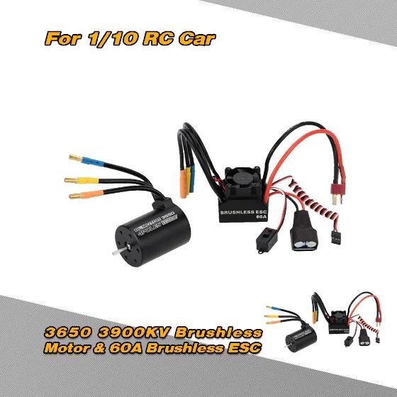 Buy 3650 3900KV 4P Sensorless Brushless Motor & 60A Splash-Proof Electronic Speed Controller ESC 5.8V/3A Switch Mode BEC 1/10 RC Car
