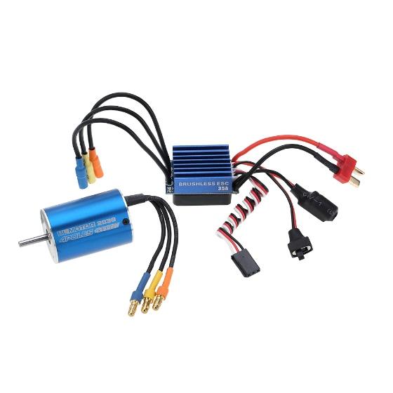 Buy 2838 4500KV 4P Sensorless Brushless Motor & 35A ESC Electronic Speed Controller 1/14 1/16 1/18 RC Car