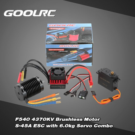 Buy GoolRC F540 4370KV Brushless Motor S-45A ESC 6.0kg Metal Gear Servo Upgrade Combo Set 1/10 RC Car Truck