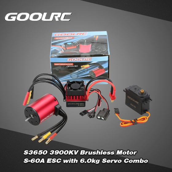 Buy GoolRC S3650 3900KV Brushless Motor S-60A ESC 6.0kg Metal Gear Servo Upgrade Combo Set 1/10 RC Car Truck