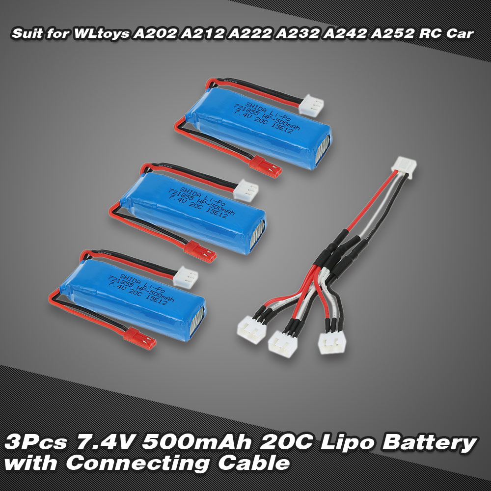 3pcs 7 4v 500mah 20c lipo batterie avec c ble de connexion pour wltoys a202 a212 a222 a232 a242. Black Bedroom Furniture Sets. Home Design Ideas