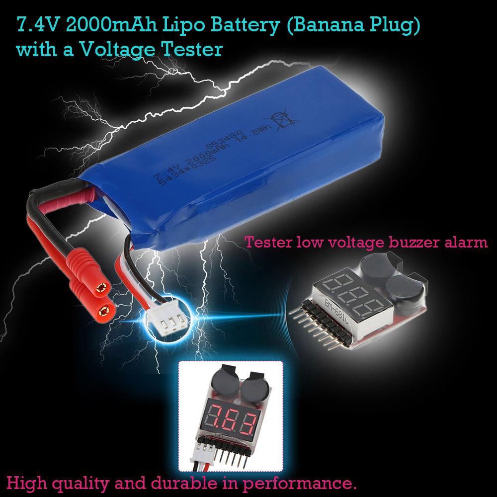 7 4v 2000mah batterie lipo fiche banane avec un testeur d 39 alarme de tension buzz pour syma x8c. Black Bedroom Furniture Sets. Home Design Ideas